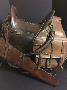 """WW1 US McClellan Military Cavalry Horse Saddle 1917/18 11.5"""",Bags, Canteen, Etc"""