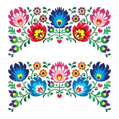 Polish floral folk art embroidery patterns for card royalty-free stock vector art