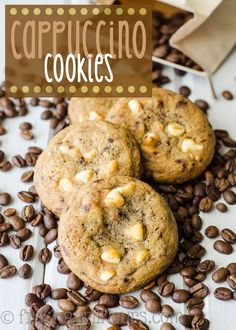 Cappuccino Cookies: Tender coffee flavored cookies studded with creamy white chocolate chips. via @frshaprilflours