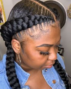 Two Cornrow Braids, Feed In Braids Ponytail, French Braid Ponytail, Front Braids, Braids With Weave, Braids Wig, 2 Big Braids, Braids Easy, Fulani Braids