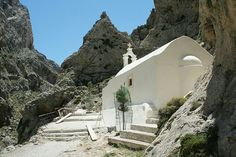 Kourtalotiko Gorge: Agios Kiriaki  Road to the bottom of the ravine leads to the Agios Nikolaos Church – It's really worth to go down there, it's magnificent. Crete.