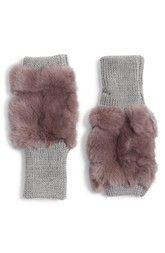 JOCELYN Jocelyn Genuine Rabbit Fur Fingerless Knit Mittens available at #Nordstrom