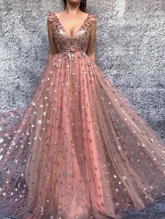 Sparkly Prom Dresses A Line V-neck Floor Length Sleeveless Stars Long Sexy Tulle Prom Dress Prom Dresses Long Pink, V Neck Prom Dresses, Tulle Prom Dress, Beautiful Prom Dresses, Trendy Dresses, Homecoming Dresses, Dress Lace, Prom Long, Strapless Gown