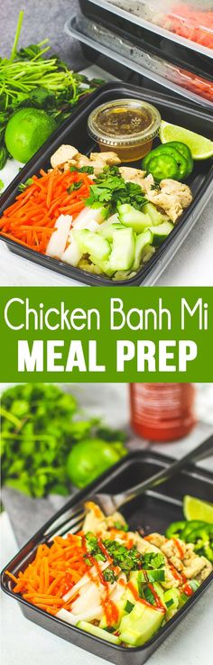 Chicken Banh Mi Meal Prep Bowls are the yummiest lunch you'll have all week!