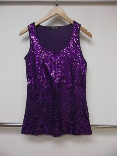 Purple sequined top.