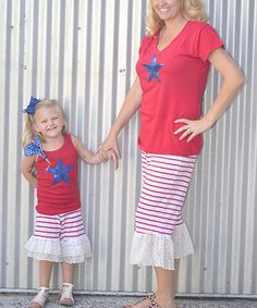 Love this CopyCat Couture Blue Star Tee & Capri Pants Set - Infant, Toddler, Girls & Women by CopyCat Couture on #zulily! #zulilyfinds