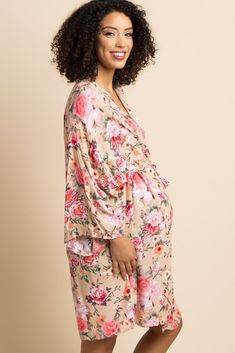 03210d24dfb Taupe Floral Delivery Nursing Maternity Robe