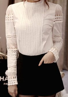 White Plain Hollow-out Band Collar Sweet Blouse #tops