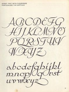 vintage script alphabet ~ Script Lettering (1957), M. Meijer ~ script text with flourishes, particularly in capitals