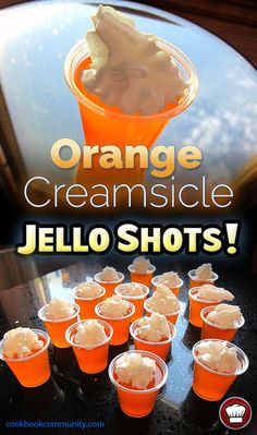 ORANGE CREAMSICLE JELLO SHOTS - Whipped Cream, Orange Jello, and Vodka! What is not to love about this? Jello Shot Recipes, Alcohol Drink Recipes, Alcohol Jello Shots, Fireball Jello Shots, Jello Shooters Recipe Vodka, Recipe For Jello Shots, Wine Jello Shots, Vodka Alcohol, Fireball Recipes