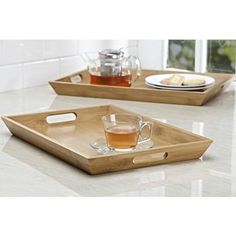 Ksp Tablet Serving Tray Set/2 32 X 46 / 30 X 43 Cm Natural | Kitchen Stuff Plus