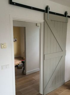 "Sliding ""Barn"" Door for laundry room Walk In Closet Inspiration, Stairs And Doors, Inside A House, My Dream Home, Home And Living, Architecture, New Homes, House Styles, Home Decor"