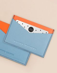 Image of The M Card holder -Blue/orange Leather Wallet Pattern, Sewing Leather, Leather Pouch, Leather Craft, Leather Crossbody Bag, Leather Handbags, Diy Reusable Bags, Minimalist Leather Wallet, Leather Projects