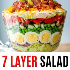 7 Layer Salad is an easy, make-ahead recipe perfect for a crowd! - -- FOOD Not alltime cooking ;-) -Classic 7 Layer Salad is an easy, make-ahead recipe perfect for a crowd! - -- FOOD Not alltime cooking ; Easy Salad Recipes, Potluck Recipes, Easy Salads, Cooking Recipes, Healthy Recipes, Lettuce Salad Recipes, Make Ahead Salads, Fruit Recipes, Meat Recipes