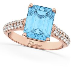 Allurez Emerald-Cut Blue Topaz & Diamond Ring 18k Rose Gold (5.54ct) ($2,400) ❤ liked on Polyvore featuring jewelry, rings, rose gold rings, diamond anniversary rings, rose engagement ring, rose diamond ring and rose gold band ring