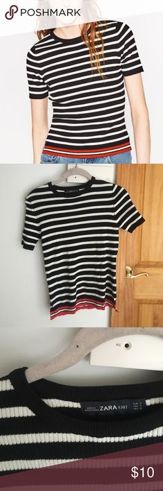 ZARA Stripped T-Shirt Sweater Black, white and red stripped sweater, never worn! Zara Tops Tees - Short Sleeve