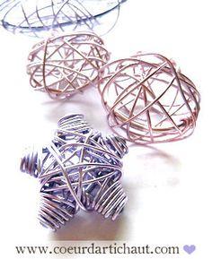 DIY - tutorial for wire ornaments. tuto étoile boules de noël