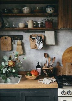 love this modern rustic rural kitchen styled by Jeska of The Future Kept with concrete walls, open rustic wood shelving and rustic wooden boards and spoons with textural ceramics. Click through for more modern rustic country interiors you'll love Diy Kitchen, Kitchen Decor, Kitchen Rustic, Kitchen Storage, Kitchen Shelves, Kitchen Cabinets, Rustic Farmhouse, Rustic Cabinets, Dark Cabinets
