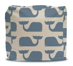 Pouf and Cover Blue Whales - Choose Large or Small Size