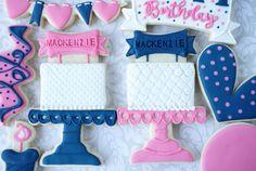 Pedestal Birthday Cake Decorated Cookies (Tutorial)
