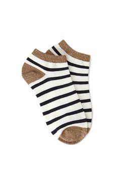 Metallic-Trimmed Stripe Socks | FOREVER21 - 2049258555