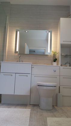 Mereway Strada fitted furniture in white with Laufen illuminated mirror.