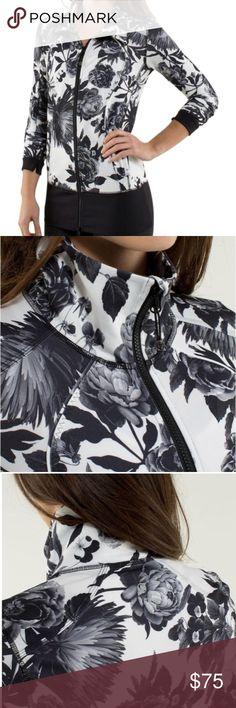 Lululemon Nice Asana Jacket Black & White Floral Lululemon Nice Asana Jacket Black/White Floral Sz2 - Genuine Lululemon  - thumb holes - front zip - great condition - Size 2 lululemon athletica Jackets & Coats