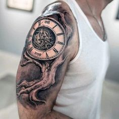 Clock And Tree Branch Steampunk Tattoo Mens Arm