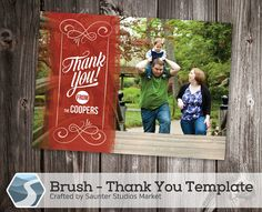Brush Thank You Card Template - 5x7 and 4x6  Photoshop Templates by SaunterStudios, $8.00