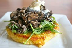 warm mushroom salad with crispy polenta, i LOVE polenta. What a simple, yet elegant looking little dish.