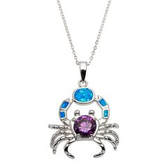 La Preciosa Sterling Silver Created Blue Opal and Amethyst CZ Crab... ($40) ❤ liked on Polyvore featuring jewelry, pendants, blue, sterling silver jewelry, cubic zirconia pendant, sterling silver round pendant, long pendant and blue jewelry