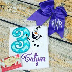 Frozen, Olaf, monogrammed bow, birthday shirt, Third birthday, Appliqué, Sassy Stitches Beauxtique