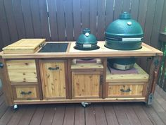 Dual Grill Cabinet for Kamado Joe, Primo or Big Green Egg - Outdoor Kitchen - Grill Cart - Dual Grill Table / Island - Kamado Joe Deals Big Green Egg Outdoor Kitchen, Outdoor Kitchen Grill, Outdoor Kitchen Design, Outdoor Kitchens, Bbq Kitchen, Backyard Kitchen, Summer Kitchen, Kitchen Tips, Grill Cart