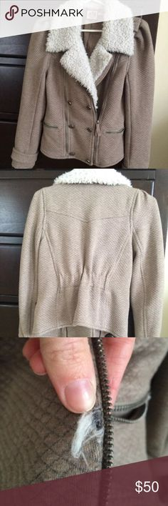 Juicy couture coco Moto jacket  Sherpa Kourtney K Color is mushroom. Worn about 10 times. Very good used condition. Loose threads here and there.    Please read---> There's *possibly* an issue with the zipper, it zips up half way. I was never sure if this was a defect or if that was the intended look.  (So it doesn't zip up to the neck even though it looks like it does). I think it could be fixed by removing the metal piece seen by my finger tip in the picture. (Continued in comments) Juicy…