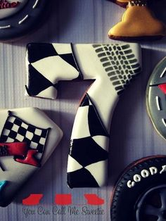 Raceway cookies~ By You Can Call Me Sweetie, black, white, checkered, tire… Car Cookies, Disney Cookies, Paint Cookies, Cookies For Kids, Cupcake Cookies, Dirt Bike Party, Cookie Decorating Icing, Birthday Cookies, 7th Birthday