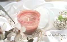 Candles : Pink Candle with Cranberries & Fig Fragrance