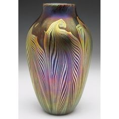 Contemporary Art Glass Vase Possibly Lundberg, Bulbous Form with A Pulled Gold Decoration On a Mottled Purple Ground, Unsigned