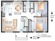Plan de Rez-de-chaussée Modèle économique de style Moderne Rustique, 2 chambres, espace ouvert, grand îlot cuisine - Miranda