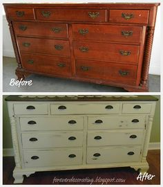 This was unexpected luck. I was at a garage sale late in the summer and saw this beaten up dresser for only $20. I didn't want or need it, but it kept 'speaking to me'. So I bought it and transformed the solid cherry dresser into a piece that I use daily in my bedroom.