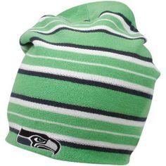 Reebok Seattle Seahawks Neon Green-Navy Blue Long Reversible Knit Beanie