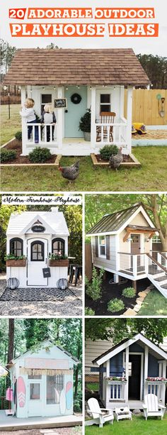 20 Adorable Outdoor Playhouse Ideas for Kids That Are No Less Than a Miniature Dreamland! kids playhouse 20 Adorable Outdoor Playhouse Ideas for Kids That Are No Less Than a Miniature Dreamland! Kids Playhouse Plans, Girls Playhouse, Childrens Playhouse, Backyard Playhouse, Build A Playhouse, Playhouse Kits, Simple Playhouse, Outdoor Playhouses, Outdoor Playhouse For Kids
