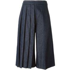 MSGM Pleated Leg Denim Culottes ($268) ❤ liked on Polyvore featuring pants, capris, blue, blue denim pants, msgm, pleated pants, pleated trousers and pleated denim pants