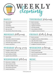 Printable Weekly Cleaning Checklist Spring has sprung, which means it's time for spring cleaning! These printable cleaning checklists will make cleaning your home daily, weekly and monthly a breeze! Just print them off and check as you clean! Weekly Cleaning Checklist, Deep Cleaning Tips, House Cleaning Tips, Cleaning Solutions, Cleaning Hacks, New House Checklist, Apartment Cleaning Schedule, Monthly Cleaning Schedule, Cleaning Schedule Templates