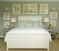 Grasscloth on the walls, sheer unlined panels and roman shades, window cushions, throw pillows, and bedding all in a very similar hue of the same color. This room has a beautiful ocean view, so this color frames the view perfectly. Painted furniture, a seagrass rug, and simple accessories keep this space feeling relaxed and comfortable.