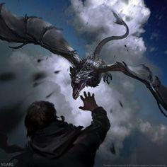 Nuare Studio Dragons The Elder Scrolls V: Skyrim - Drachen - Fantastical Creatures Mythological Creatures, Fantasy Creatures, Mythical Creatures, Medieval Fantasy, High Fantasy, Fantasy Art, Final Fantasy, Fantasy Dragon, Fantasy Warrior