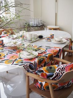 Decor, Kitchen Fabric, Interior, Table Style, Eclectic Home, Kitchen Tablecloths, Black And White Decor, Coastal Style, Marimekko Fabric
