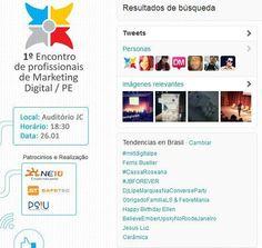 Printscreen do momento em que 1º Encontro de Profissionais de Marketing Digital em Pernambuco foi o assunto mais  comentado do Brasil no Twitter.