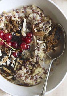 Cardamom, cinnamon, ginger, and black pepper play a dual role in this Frances Boswell breakfast recipe for multigrain porridge, made here with oats, millet, spelt, and flaxseed.