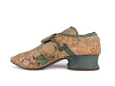Shoes: ca. 1730's, British, brocade vamp, wide covered Louis XIV heel.
