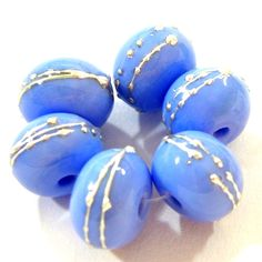 Lampwork Beads Shiny Opaque Periwinkle Blue Glass Glossy Silver 220gfs   Covergirlbeads - Jewelry on ArtFire #bmecountdown